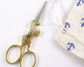 """Gold Unicorn 4"""" embroidery scissors - small unicorn sewing scissors - for cross stitching, needlework, quilting"""