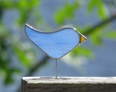 Stained Glass Bird Suncatcher One of a Kind Sky Blue Glass Bird Ornament Fun Gift Idea for Nature Lover Handmade in Canada