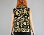 RESERVED RESERVED Vintage 60s 70s Women's Black Gold Bohemian Black Velvet Hippie Embroidered Mirrors Gypsy Vest