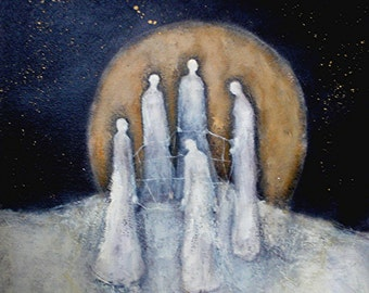 The Weavers, a GICLEE PRINT from an original oil painting,approx 12x12 inches, fates, women, moon, snow