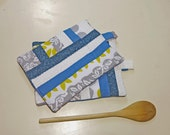 Potholders patchwork potholders modern quilted potholders kitchen blue and gray