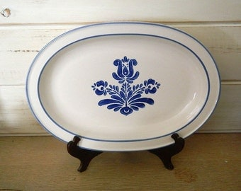 """Pfaltzgraff Blue Village 14"""" Serving Platter - Vintage Serving Tray"""