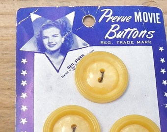 "PREVUE MOVIE BUTTONS Card, Gale Storm in ""The Whipped"", Set of Three Plastic, 7/8"", 1940's, Vintage  Movie, Sewing Collectible"