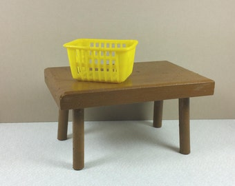 DOLL SIZE TABLE, Painted Brown Wood, Alexander-Kin, Ginny Size,  Vintage Play, Toy Furniture