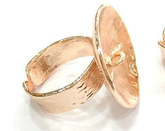 Adjustable Ring Blank Setting,  Rose Gold Plated Brass G4417