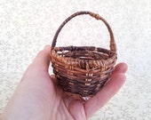 Vintage Miniature Woven Wicker Basket, Rustic Natural Round Basket with Handle, Small Scale Wicker Basket