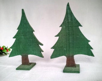 Set of 2 Vintage Rustic Wood Evergreen, Fir, Christmas Trees with Stands, Miniature Artificial Christmas Trees for Decoration, Display