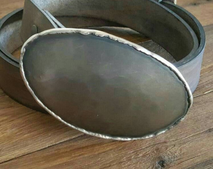 """Hand Forged Oversized Oval Bronze Texas Belt Buckle with Slate Hand Dyed Leather 1.5"""" Blue Jean Belt Made in Canada Velvet or Burlap Bag"""