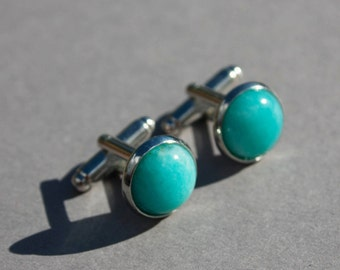 Amazonite cuff links, Pale aqua blue cufflinks, gemstone cufflinks