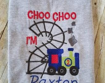 birthday shirt/ choo choo I'm 2/train birthday/little boy/2nd birthday/boy's clothes