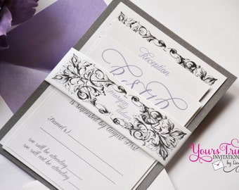 Sample - Victorian Scrollwork - Morgan Wedding or Shower Invitation with Custom Belly band in lilac purple  and charcoal gray or your colors
