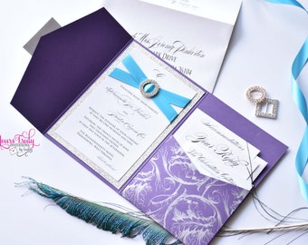 Sample- Amanda Purple and Silver Filigree with Turquoise accents Crystal Buckle and Glitter Wedding Invitation Pocket Folder
