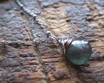 Sterling wrapped Moss Aquamarine Necklace