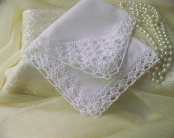 Lace Handkerchief, Hand Crochet, Crochet Lace, Hanky, Hankie, Victorian, White, Ladies, Monogrammed, Personalized, Custom Embroidered