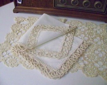 Lace Handkerchief, Hanky, Hankie, Hand Crochet, Crochet Lace, Off White, Monogrammed, Personalized, Embroidered, Custom, Ladies hanky