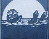 4x4 Etched Porcelain Sea Otter Tile - SRA