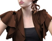 Women's Ruffled cropped Shrug in Brown-Size Small