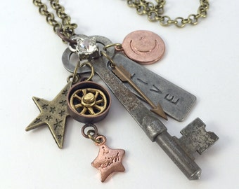 By Starlight Antique Key Pendant