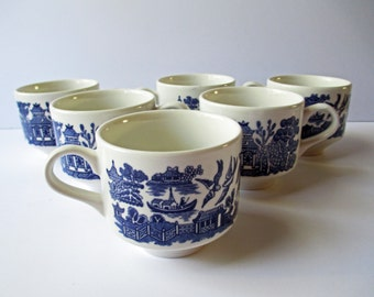 Vintage Blue and White Coffee Tea Cups Asian Scene English Set of Six