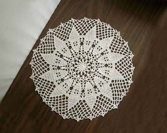 Sunflower Decor Crochet Lace Doily, New, Table Topper, Ecru Flower Centerpiece, 14 Inches