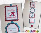 Elmo Birthday Banner, Welcome Door Sign