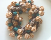 Moroccan art silk bead necklace/bracelet, caramel taupe chocolate and emerald