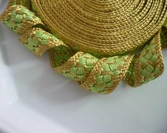 Moroccan trim, golden and lime art silk , woven, 5 metres