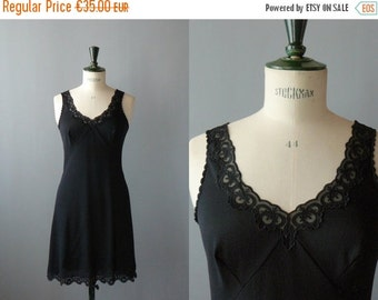 40% OFF SALE // Vintage slip dress. 60s black peignoir. deadstock lace slip dress. negligee. lingerie
