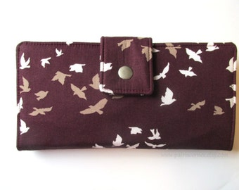 Handmade women wallet - white and brown - flock of birds flying everywhere - vegan purse clutch with ID clear pocket - ready to ship