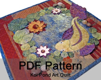 Koi Pond Embellished Art Quilt - PDF Sewing Pattern - Instant Download