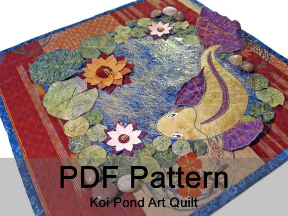 Koi pond embellished art quilt pdf sewing pattern instant for Koi pond quilt pattern