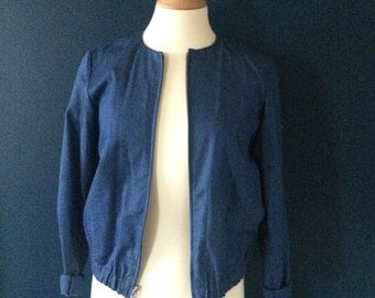 90s denim style minimal navy jacket (s)