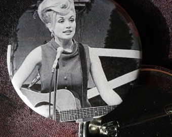 classic Dolly Parton pin country music badge pinback button hand pressed