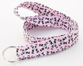 Mini Pandas in Pink - Lanyard ID Badge Holder - Personalization Available - Key Strap - Ready to Ship