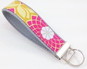 Ready to Ship - Handmade Fabric Wristlet Key Fob, Keychain -  Joel Dewberry on Grey