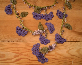 green and purple necklace, crochet flower leaf, turkish oya, amethyst