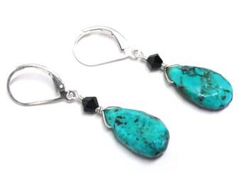 bright turquoise flat teardrop lever back earrings sterling silver goldfilled Swarovski