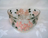 Painted candy dish, hand painted heart shaped dish, painted hydrangeas