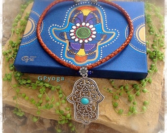 Boho Girl HAMSA HAND necklace Cowgirl jewelry Leather necklace Statement necklace Gypsy Bohemian jewelry Womens accessories GPyoga