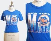 Vintage 90s New York METS Tshirt / 1990s Baseball Shirt Extra Small XS