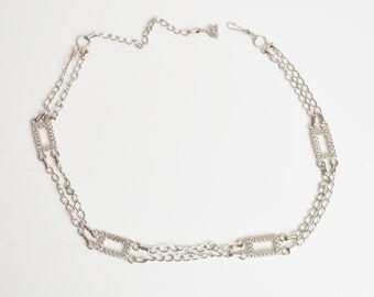 Vintage 60s CHAIN Link Belt / Silver Rectangle Plaque Links, s m