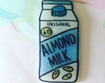 Almond milk pin, brooch, jewelry, lapel, holographic glitter, 90's, 90's fashion, 90's kid