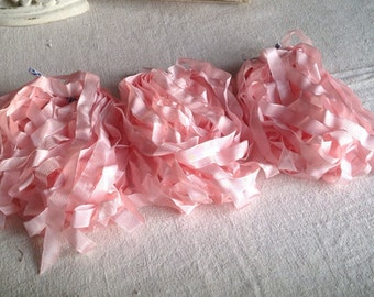 Vintage Pink Satin Tape Fine French Grosgrain Ribbon / Ballet Millinery,  Dolls & Bears 5m  NOS