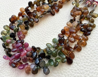 Brand New, Natural Multi TOURMALINE Smooth Pear Shape Briolettes,Full 7 Inch Strand, 7-7.5mm Size.