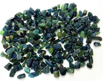 200 Cts,Brand New,Amazing RARE BLUE-GREEN Tourmaline Rock ,8-10mm,Amazing Rare Item