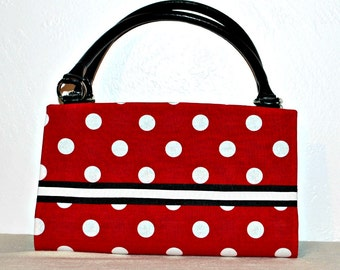 Red with White Polka Dots and Black Ribbon Magnetic Bag Shell Cover
