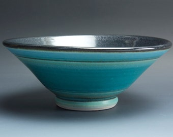 Sale - Handmade pottery bowl turquoise porcelain serving or ceramic salad bowl 1.50 qt, - 3579