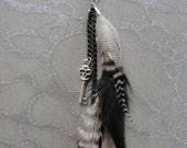 HALF OFF VALENTINES Sale Feather Hair Extension Clip - Feathers with Grizzly Stripes of Black & White on Chain w Steampunk Skull headed Pira