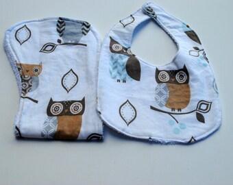 Gender Neutral Owl bib/burp cloth set, owls, bib, burp cloth, ready to ship