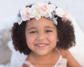 silver pink cream floral crown halo headband  toddler to adult